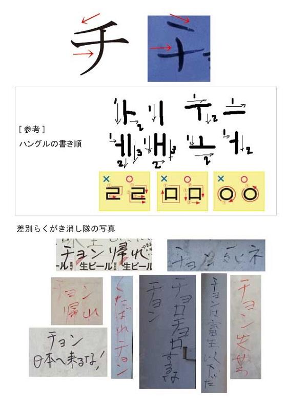 落書きの「チ」の字を検証すると、「チ」の筆跡がハングルに酷似!