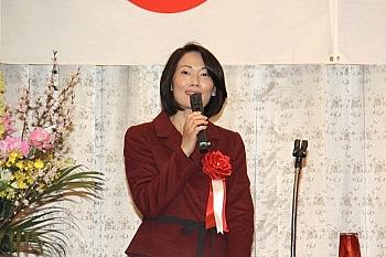 松本市内で講演する丸川環境相