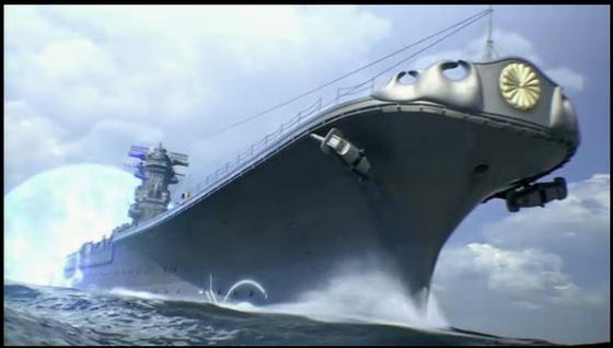 変更前「ファンタシースターオンライン2」、敵キャラ「戦艦大和」菊花紋章のデザイン変更