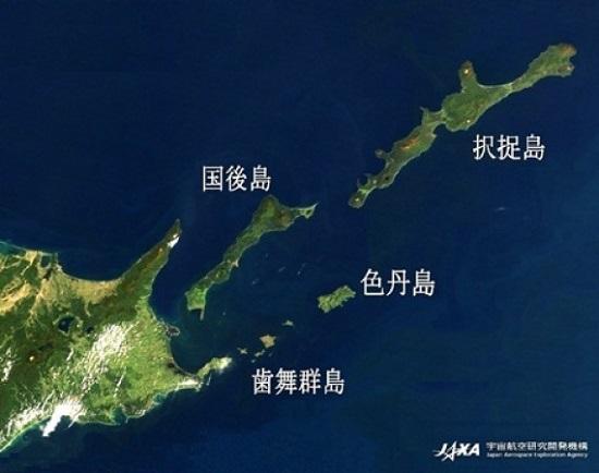 衛星写真で見た歯舞群島の位置