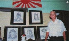 ピナツボ火山の噴火で埋もれてしまったが、特攻隊飛行場跡の慰霊碑建立に奔走したディゾン画伯(肖像画は画伯の手になる特攻隊員のもの。左上が関行男大尉)
