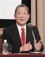 日本記者クラブで会見した産業革新機構の志賀俊之会長兼最高経営