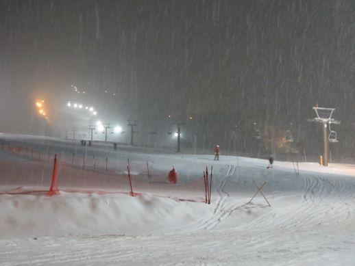 雪降る ナイター