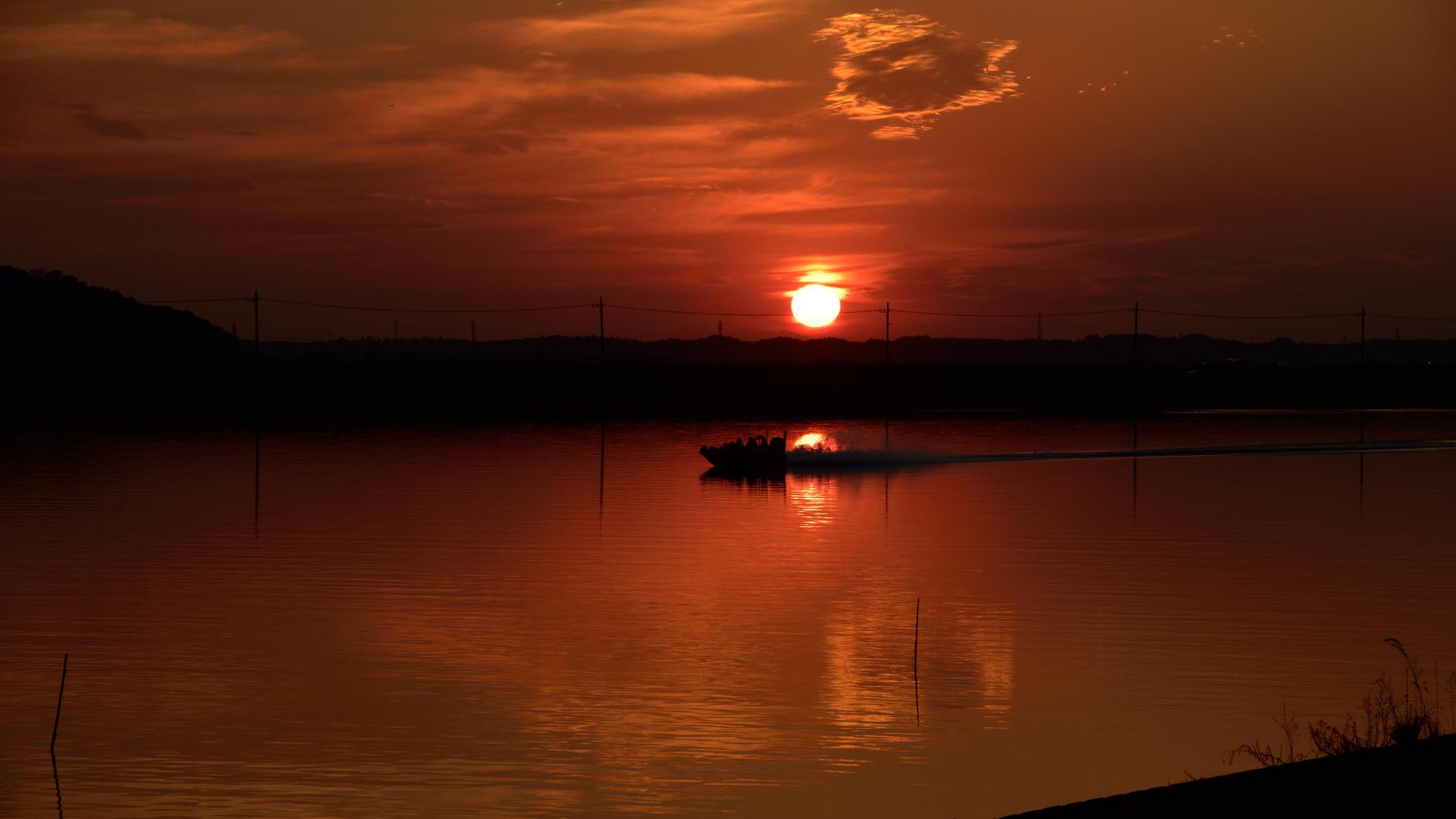 常陸川日没