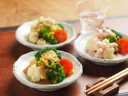蕾のサラダ、三種のドレッシンt05