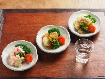 蕾のサラダ、三種のドレッシンt12