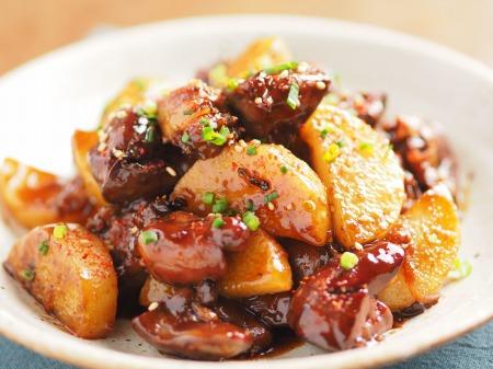 鶏レバーと長芋の鍋照り焼きt25