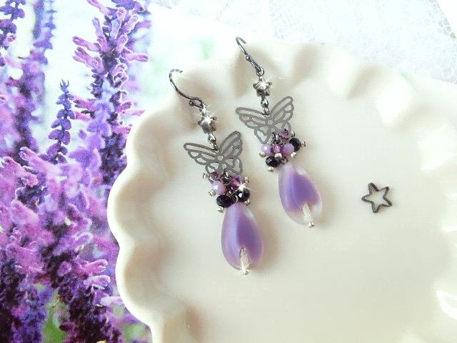 黒蝶と紫雫ギブレウィンドのしゃらんら星ピアス1