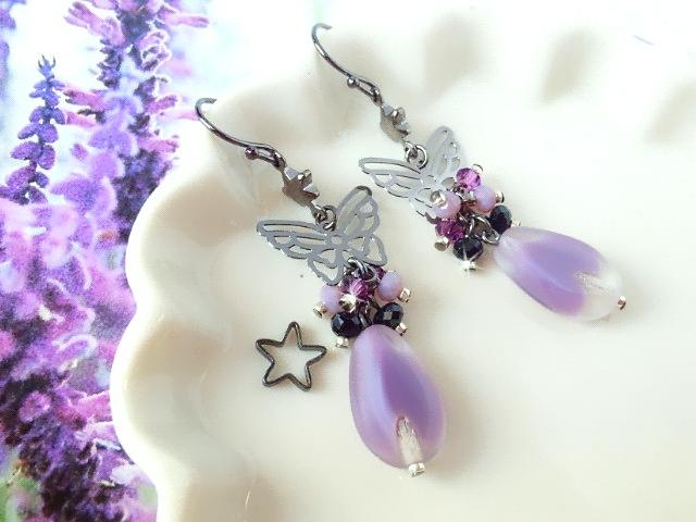 黒蝶と紫雫ギブレウィンドのしゃらんら星ピアス2