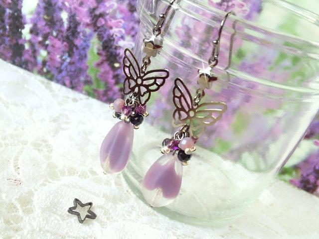 黒蝶と紫雫ギブレウィンドのしゃらんら星ピアス3