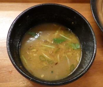 麺元素 つけ麺 鶏辛みそ スープ割り