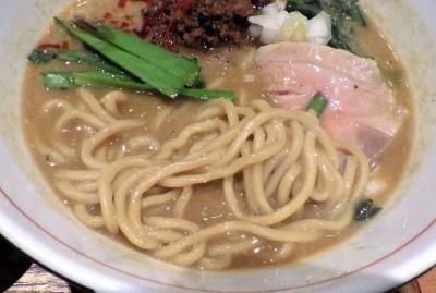麺と心 7 牡蠣白湯(麺のアップ)