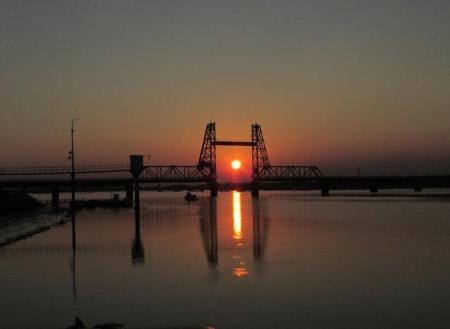 昇開橋の夕陽 022