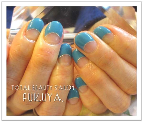 SEA BLUEフレンチネイル(=゚ω゚)ノ