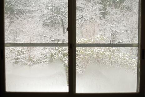 窓の外の雪