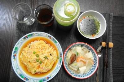 天津飯メインの夕食