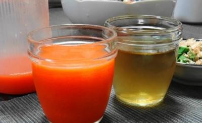 人参・りんご・レモンジュース、麦茶