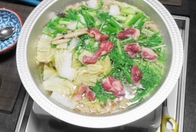 鴨鍋、白菜入り