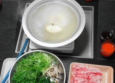 鍋セット・豚しゃぶスタンバイ
