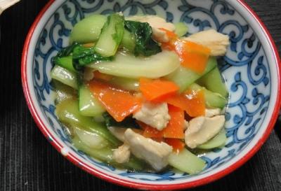鶏胸とチンゲン菜の炒め