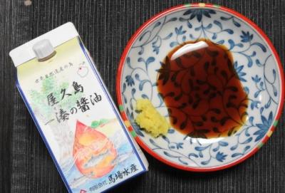 刺身醤油と薬味の生姜