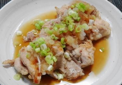 赤鶏のネギ塩焼き、おろしポン酢ソース