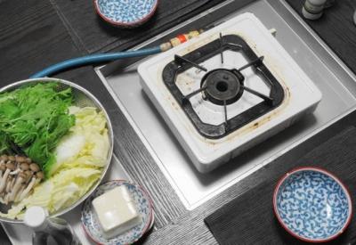 鍋テーブル、ガスコンロ