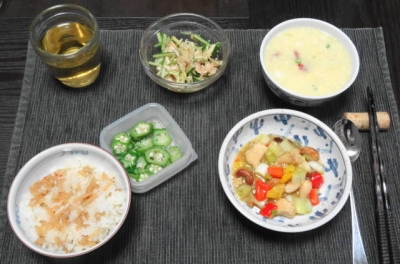 宮庁鶏丁・メンマご飯
