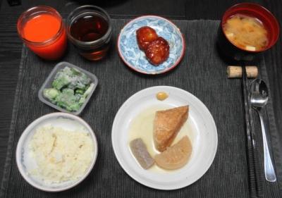 おでんと里芋ご飯の夕食