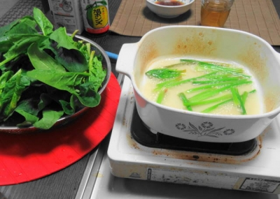 ほうれん草を食べる鍋