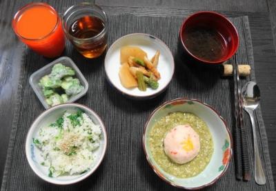 牡蠣のすり流しとかぶ菜めしの夕食