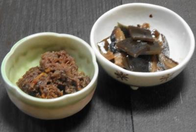 牛肉のしぐれ煮。昆布の佃煮