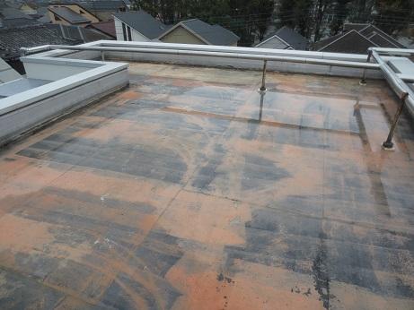 屋上防水工事剥がした後水