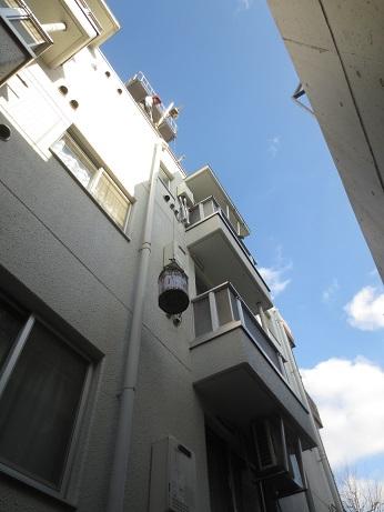 屋上防水工事完成リフト作業中