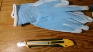 手袋、カッター