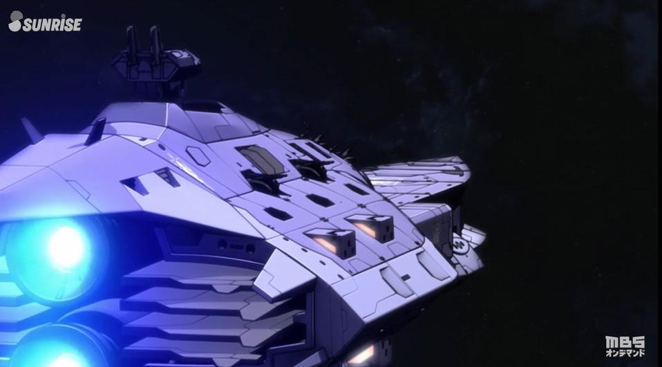 セブンスターの冠を付けた船 戦艦 ガエリオ・ボードウィン
