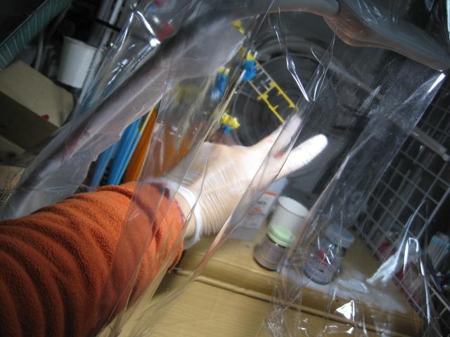 塗装ブース 防毒マスク メタリックマスター クタン参型全塗装 フレーム チタン変色