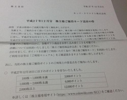 カッパ・クリエイト 株主様ご優待カード送付の件