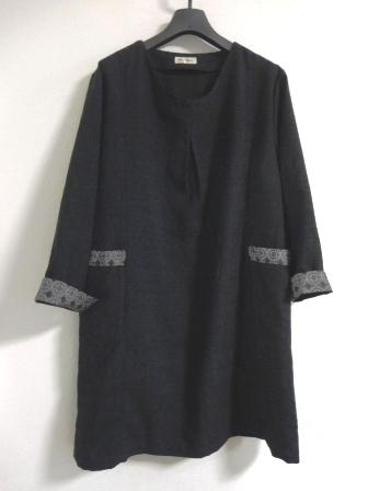 黒紬チュニックワンピース