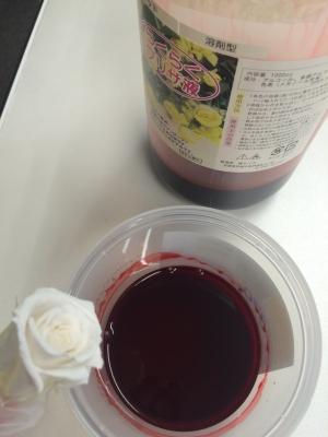 この白いプリザーブドフラワーをらくらくプリザ液で染めていきます