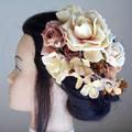 ベージュローズとベルベット紫陽花の和装髪飾り