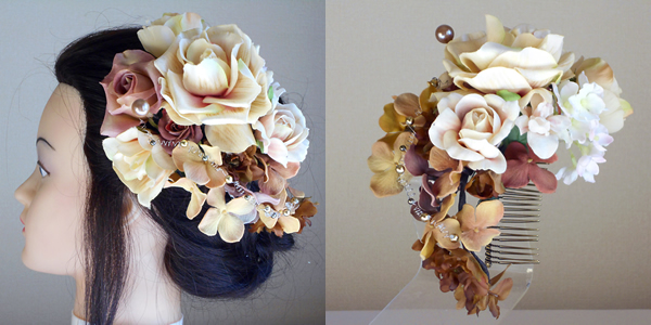 大輪ベージュローズと紫陽花の和装髪飾り