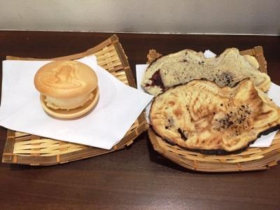 150908大阪浪花家たい焼き150円、最中アイス150円