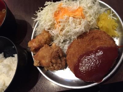 151007紅とん丸の内店メンチカツ&チキン唐揚げ定食750円