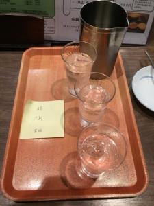 151103手打ちそばまきの焼酎飲み比べ3種520円