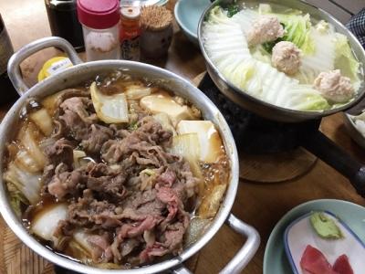 151128なべや牛肉すき焼680円と鶏みんち鍋830円できあがりぃ