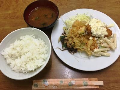 151216東陽軒日替りランチ490円かきあげ、アジフライ、煮物
