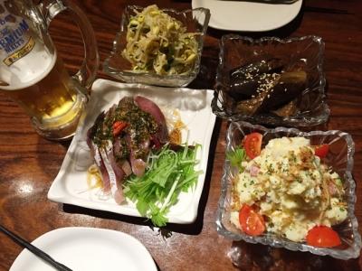 151218黒龍天神樓ちょこバルコース飲放題付き4320円もやしのナムル、茄子の中華煮びたし、ポテサラ、本日の鮮魚葱山椒ソース