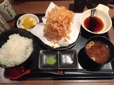 160108天ぷら天八サンロード店桜海老のかき揚げ単品600円、ごはん大250円、赤出汁50円