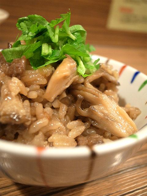 151114麺屋さくら-鴨皮と舞茸の炊き込みご飯アップ